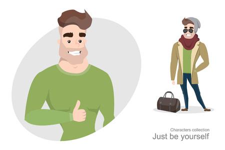Élégant jeune homme en tenue de ville avec un sac. Accessoires pour hommes Guy branché portant un chapeau et des lunettes de soleil. Bel homme avec un corps pompé. Vecteurs