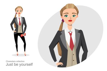 Ernstige vrouw in een pak unisex. Gendergelijkheid in het bedrijfsleven. Modieus meisje in een pak en stropdas. Office kleding stijl voor vrouwen.