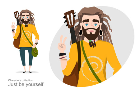 Young man with dreadlocks and guitar. Modern youth. Subculture or alternative culture. Handsome guy musician. Self-expression. Ilustração
