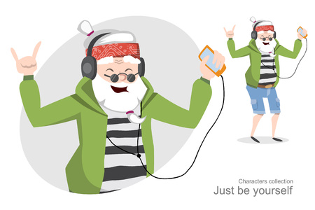 perception: Funny old man in headphones listening music on your mobile phone and dances. Cheerful pensioner. Happy retirement. Positive perception.