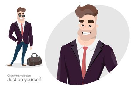 Homme élégant en affaires avec un sac. Style de bureau. Style d'affaires moderne. Un bel homme en costume strict.