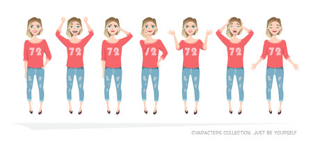 Set of emotions and gestures to the young woman. Illustration