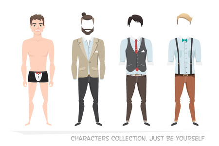 formalwear: Clothing sets for men. Constructor of the character. Creating a character style. Different types of attire for a guy. Cartoon style.