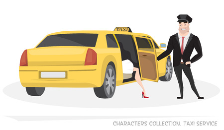 chauffeur: VIP taxi with a driver and passenger in Cartoon style. Delivery of passengers taxi service. Woman comes out of taxi. Taxi driver opens the door to passenger.