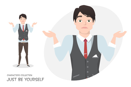 Young businessman doubt, no ideas. Man in business style shrugs. Emotion of uncertainty and confusion on guy face. Cartoon style.