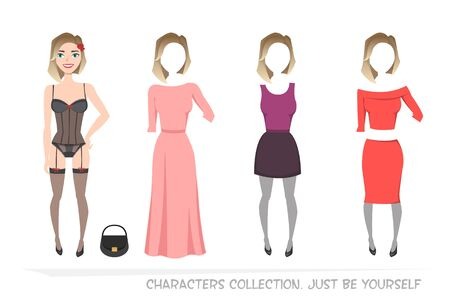 creator: Clothing sets for female. Constructor of the character. Creating a character style. Different types of attire for woman. Cartoon style.