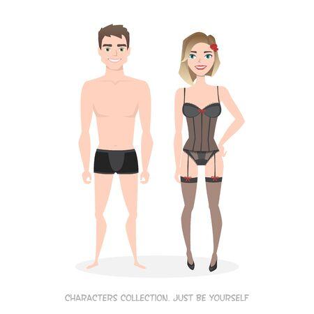 Homme et femme en lingerie. Style de dessin animé. Vecteurs