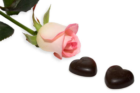 Chocolate  and  rose on white background. Isolated. Stock Photo