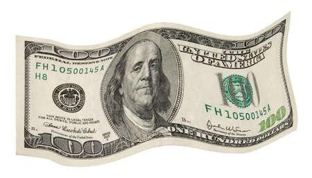 deposit slip: fluttering dollar on  white background