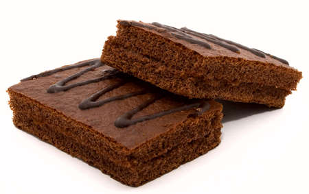 Chocolate cakes on white background