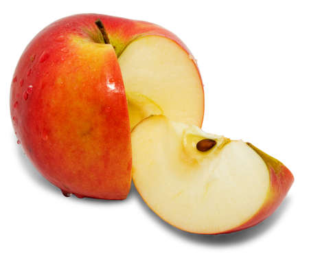 paring: Red apple on white background