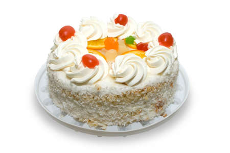 Cake with fruits on white backgroud. Cliping path.
