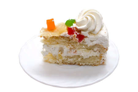 Cake with fruits on white backgroud.