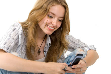 young blond girl with cellphone photo