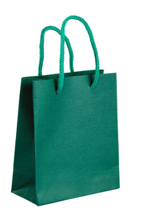 paperbag: Green paper-bag. Isolated on white background