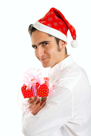 Portrait of Christmas man with present. Isolated on white background. photo