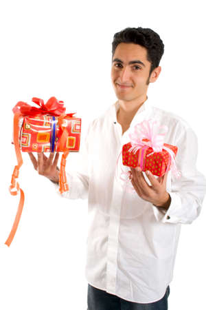 Portrait of glamour man with present. Isolated on white background. photo