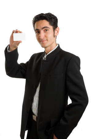 Successful businessman with plastic card.