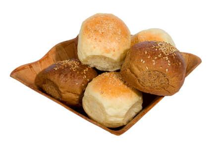 Newly-baked bagels. Isolated on white background. Stock Photo