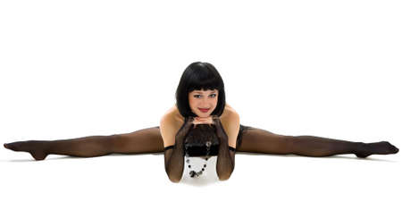 feat: Portrait young girl in acrobatic feat. Stock Photo