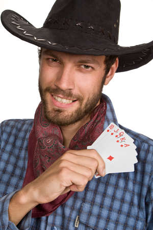 Young man with playing-cards in black broad-brim. Stock Photo - 5945636