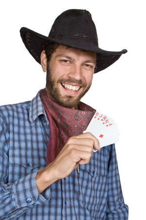 Young man with playing-cards in black broad-brim. Stock Photo - 5945635