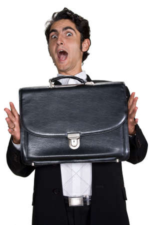 leathern: Successful businessman with black leathern case.  Stock Photo