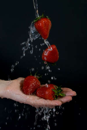 Strawberries in flowing water on black background. photo