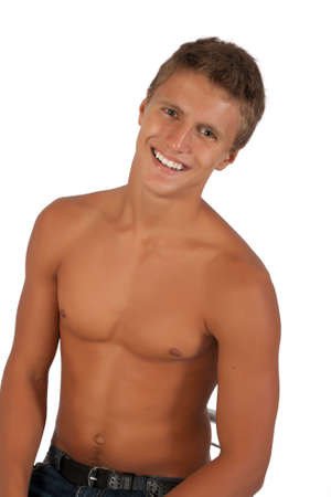 hombres sin camisa: Retrato de hombre joven fuerte.