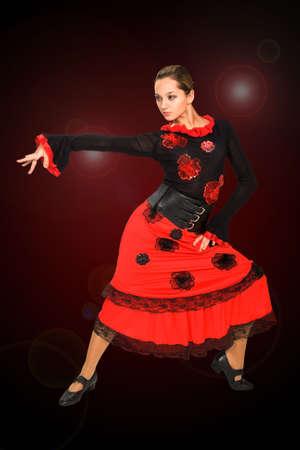 Beautiful spanish dancer on white background. photo