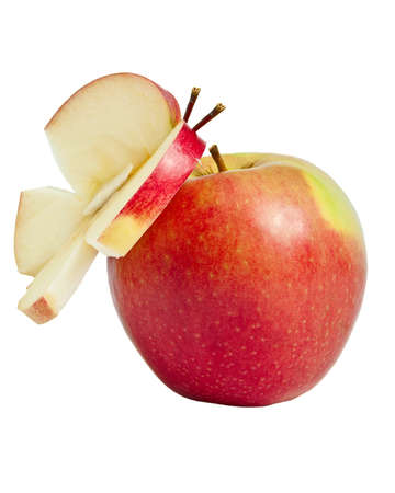 Red apple with decoration on white background