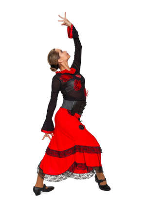Young beautiful spanish dancer on white background