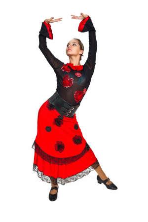 Joven hermosa bailarina española sobre fondo blanco