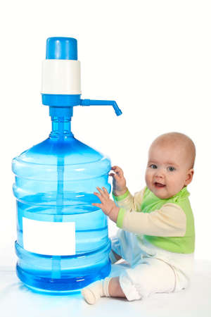 Large bottle of clean drinking water and little baby.