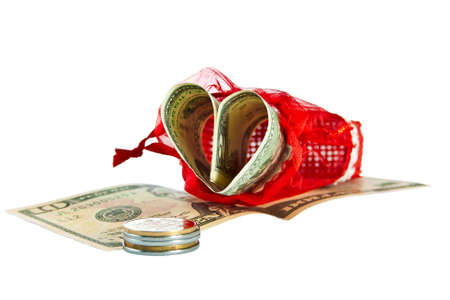 Red straw paper-bag with money in form heart  Isolated on white background  photo