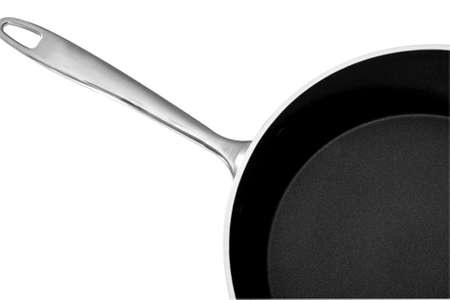 panful: Frypan with handle and cover  Isolated on white background Stock Photo