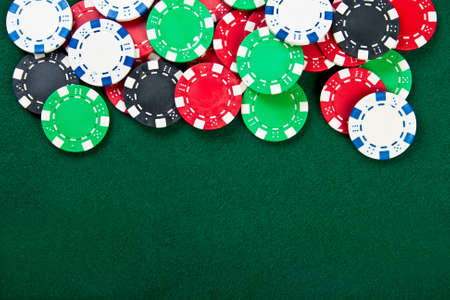 Group of chips on the green cloth