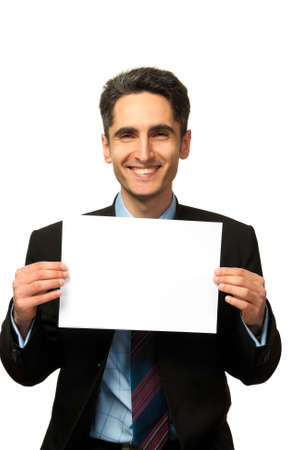 Young successful businessman is showing the advertisement  photo
