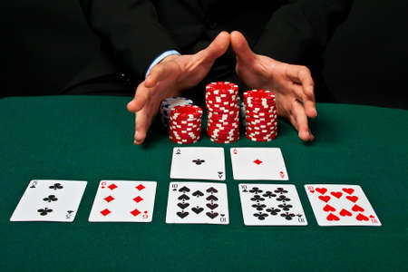 Chip and cards for the poker on the table Stock Photo - 13185345