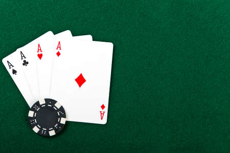 Chip and cards for the poker on the table