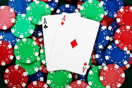 Chip and cards for the poker on the table Stock Photo - 13354609