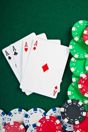 Chips and cards for the poker on the table   Stock Photo - 13354711