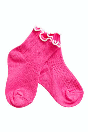 Complete of baby-girl socks on white background. photo