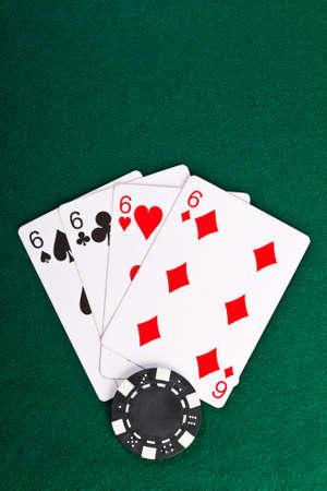 Chip and cards for the poker on the table   photo