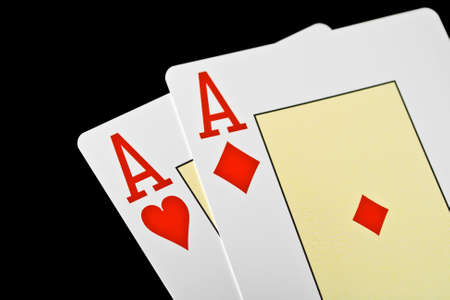 playing poker cards isolated on black background  Stock Photo - 14185339