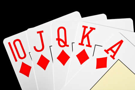 playing poker cards isolated on black background  Stock Photo - 14185340