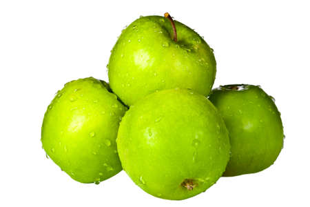 Group of green apples with water drops isolated on white background