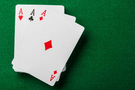 Cards and pack of playing cards on the table Stock Photo - 16785823