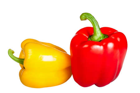 ripe red and yellow peppers isolated on white background Stock Photo - 18542989