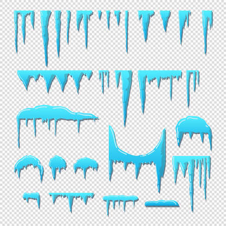 Set of snow cap. Snowy elements on a transparent background. Cartoon style freehand drawing.